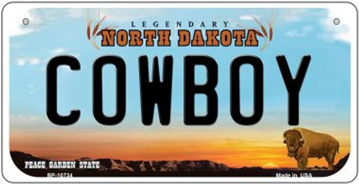 Cowboy North Dakota Novelty Metal Bicycle Plate BP-10734