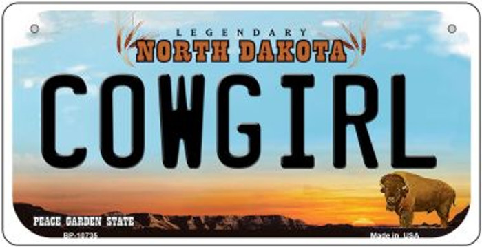 Cowgirl North Dakota Novelty Metal Bicycle Plate BP-10735