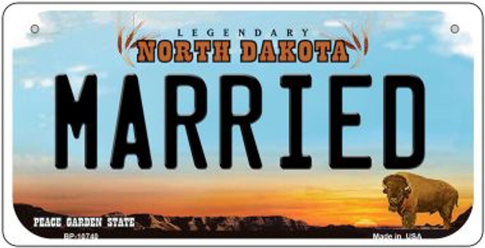 Married North Dakota Novelty Metal Bicycle Plate BP-10740