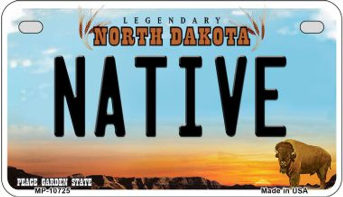 Native North Dakota Novelty Metal Motorcycle Plate MP-10725