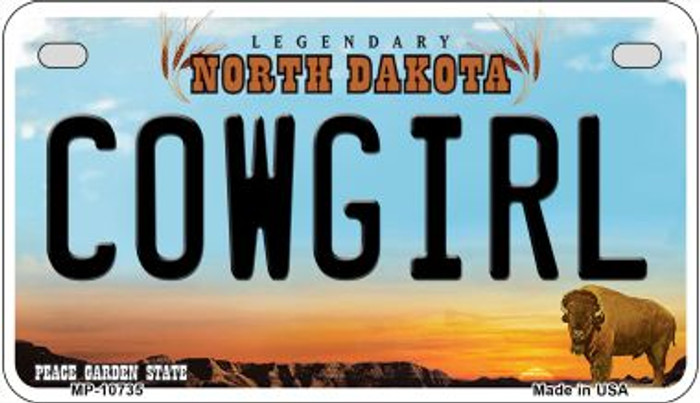 Cowgirl North Dakota Novelty Metal Motorcycle Plate MP-10735