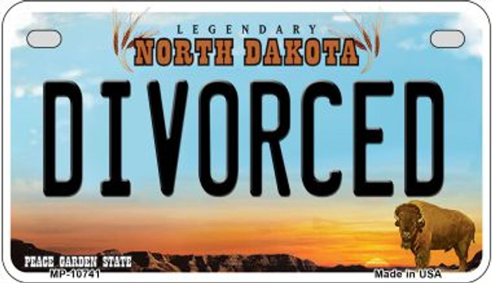 Divorced North Dakota Novelty Metal Motorcycle Plate MP-10741