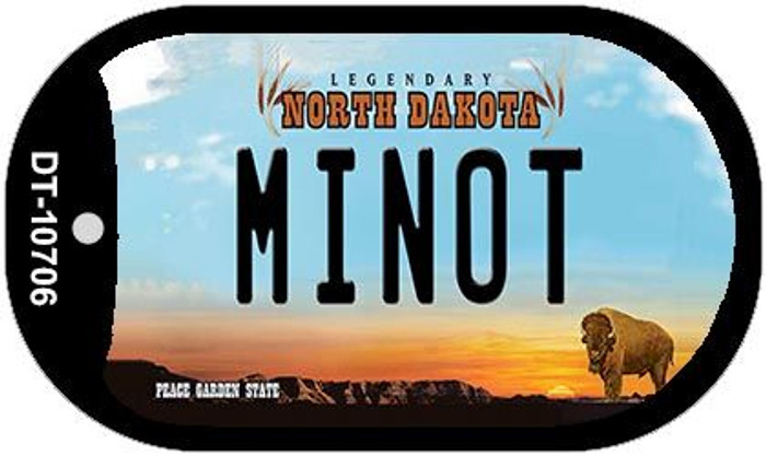 Minot North Dakota Novelty Metal Dog Tag Necklace DT-10706