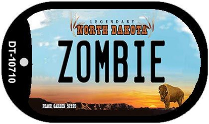 Zombie North Dakota Novelty Metal Dog Tag Necklace DT-10710