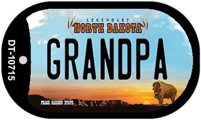 Grandpa North Dakota Novelty Metal Dog Tag Necklace DT-10715