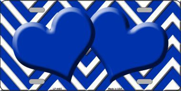Blue White Chevron Blue Center Hearts Metal Novelty License Plate Tag
