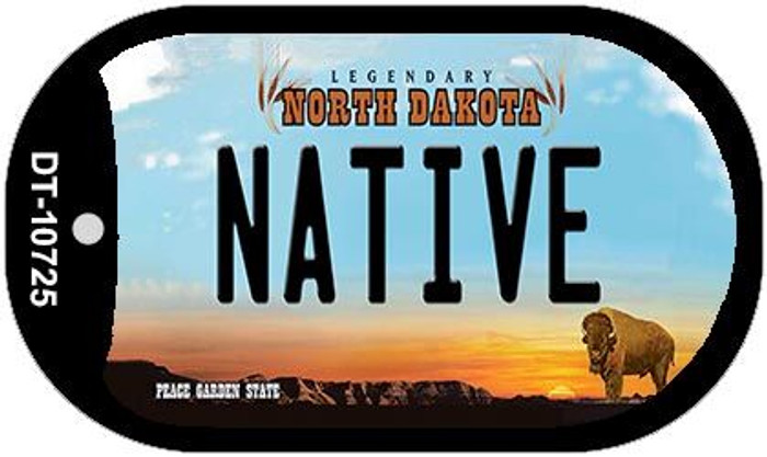 Native North Dakota Novelty Metal Dog Tag Necklace DT-10725