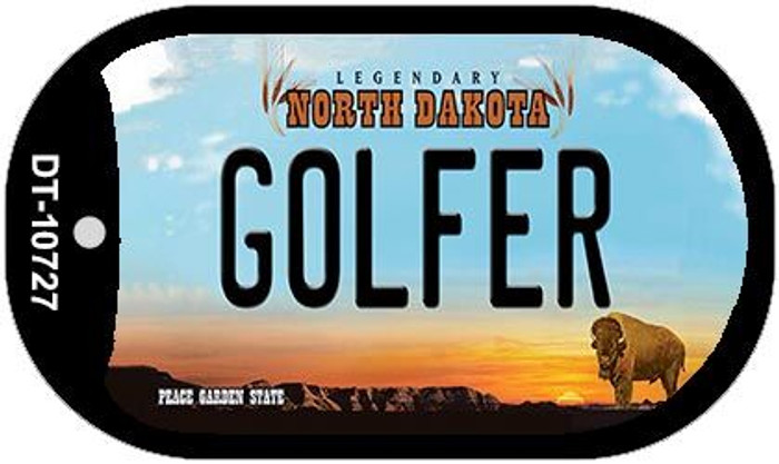 Golfer North Dakota Novelty Metal Dog Tag Necklace DT-10727