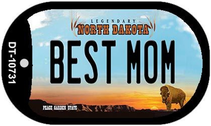 Best Mom North Dakota Novelty Metal Dog Tag Necklace DT-10731