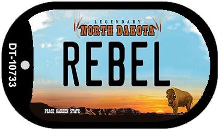 Rebel North Dakota Novelty Metal Dog Tag Necklace DT-10733