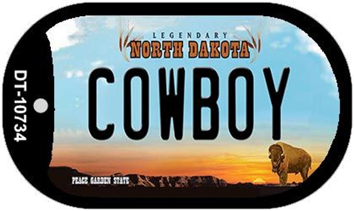 Cowboy North Dakota Novelty Metal Dog Tag Necklace DT-10734