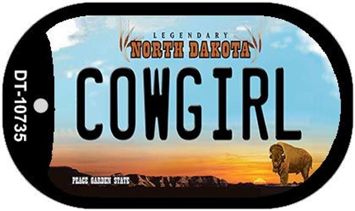 Cowgirl North Dakota Novelty Metal Dog Tag Necklace DT-10735