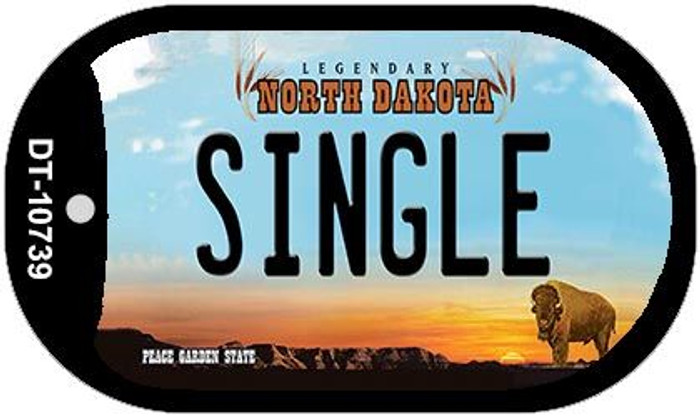 Single North Dakota Novelty Metal Dog Tag Necklace DT-10739