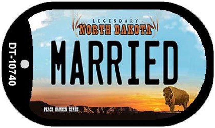 Married North Dakota Novelty Metal Dog Tag Necklace DT-10740