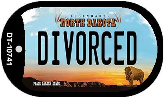 Divorced North Dakota Novelty Metal Dog Tag Necklace DT-10741
