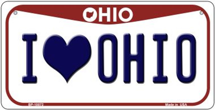 I Love Ohio Novelty Metal Bicycle Plate BP-10072