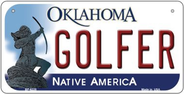 Golfer Oklahoma Novelty Metal Bicycle Plate BP-6225
