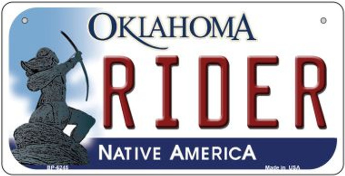 Rider Oklahoma Novelty Metal Bicycle Plate BP-6245