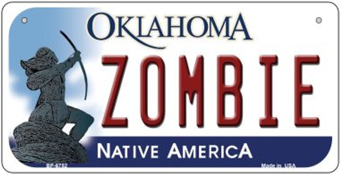 Zombie Oklahoma Novelty Metal Bicycle Plate BP-6752