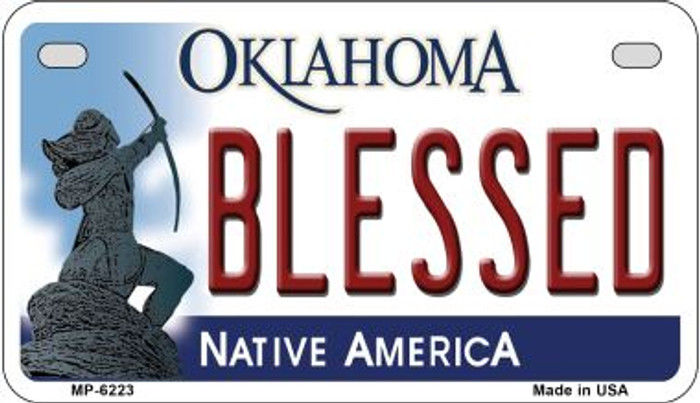Blessed Oklahoma Novelty Metal Motorcycle Plate MP-6223