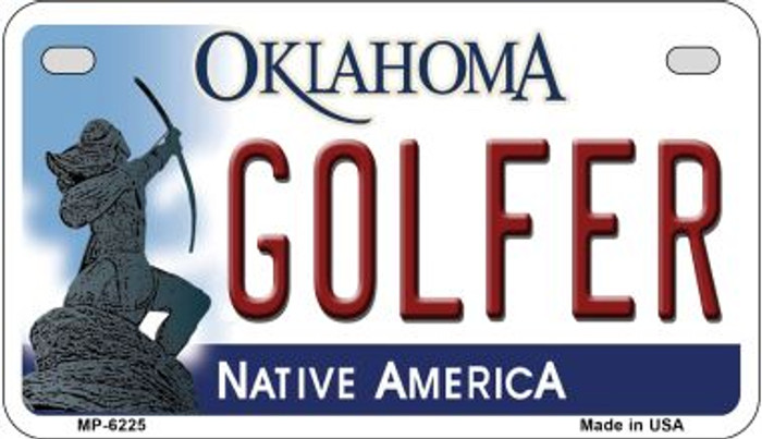 Golfer Oklahoma Novelty Metal Motorcycle Plate MP-6225