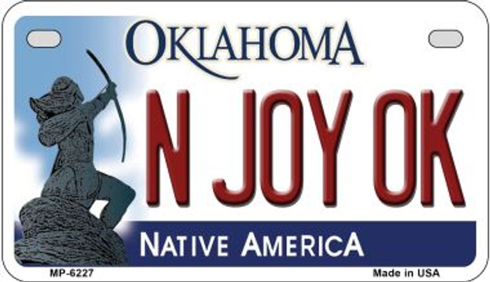 N Joy OK Oklahoma Novelty Metal Motorcycle Plate MP-6227