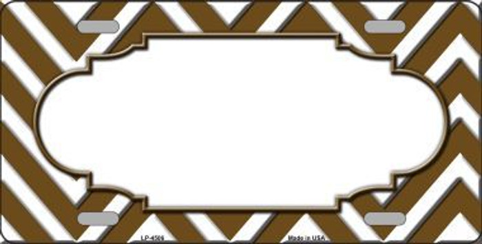 Brown White Chevron Center Scallop Metal Novelty License Plate LP-4506