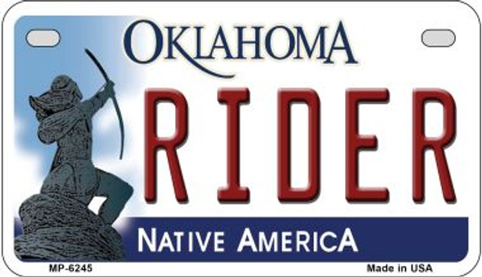 Rider Oklahoma Novelty Metal Motorcycle Plate MP-6245