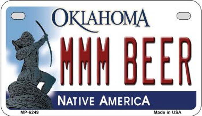 MMM Beer Oklahoma Novelty Metal Motorcycle Plate MP-6249