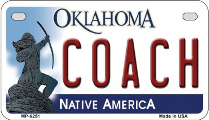 Coach Oklahoma Novelty Metal Motorcycle Plate MP-6251