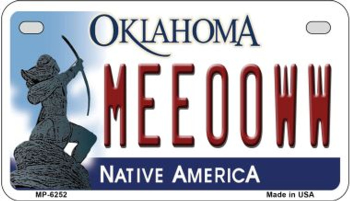 Meeooww Oklahoma Novelty Metal Motorcycle Plate MP-6252