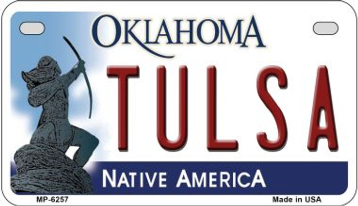 Tulsa Oklahoma Novelty Metal Motorcycle Plate MP-6257