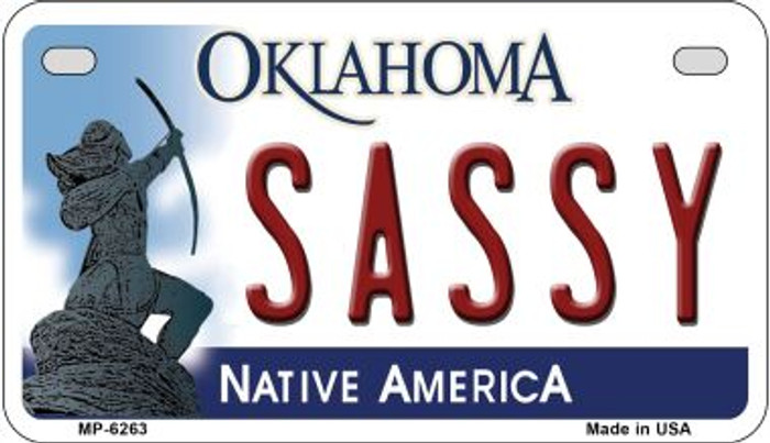 Sassy Oklahoma Novelty Metal Motorcycle Plate MP-6263