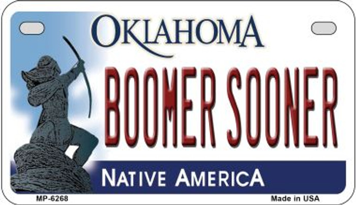 Boomer Sooner Oklahoma Novelty Metal Motorcycle Plate MP-6268