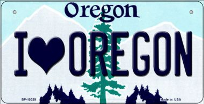 I Love Oregon Novelty Metal Bicycle Plate BP-10339