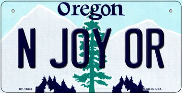 N Joy OR Oregon Novelty Metal Bicycle Plate BP-10340