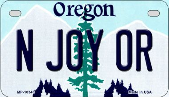 N Joy OR Oregon Novelty Metal Motorcycle Plate MP-10340