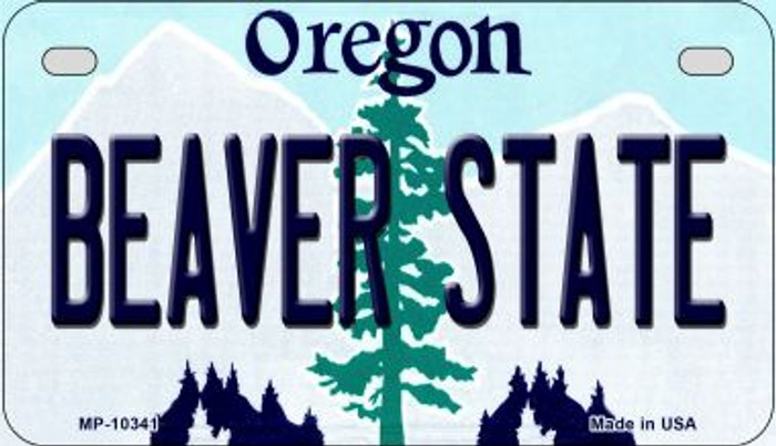 Beaver State Oregon Novelty Metal Motorcycle Plate MP-10341