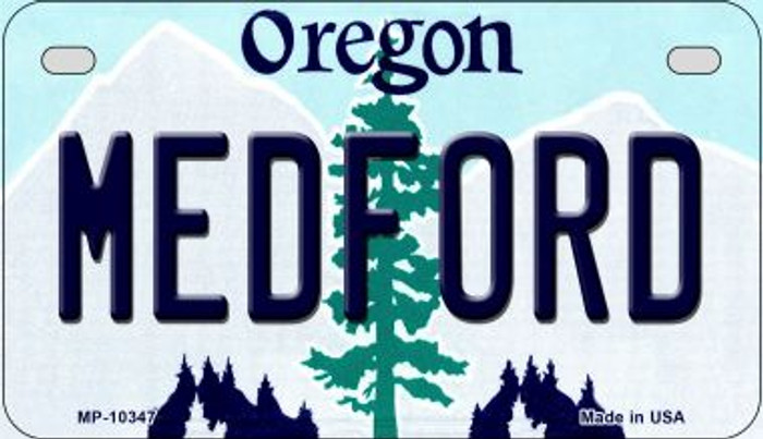 Medford Oregon Novelty Metal Motorcycle Plate MP-10347