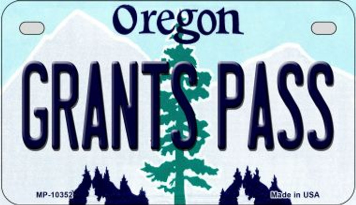 Grants Pass Oregon Novelty Metal Motorcycle Plate MP-10352