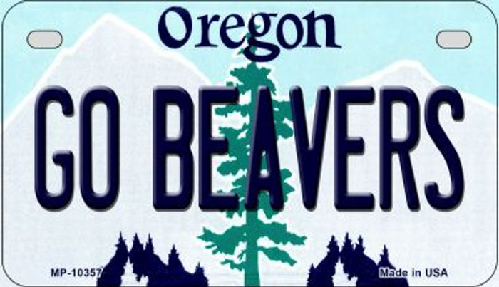 Go Beavers Oregon Novelty Metal Motorcycle Plate MP-10357
