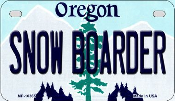 Snow Boarder Oregon Novelty Metal Motorcycle Plate MP-10365