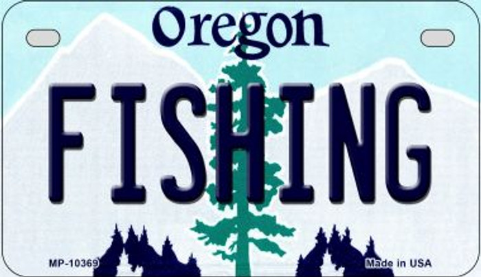 Fishing Oregon Novelty Metal Motorcycle Plate MP-10369