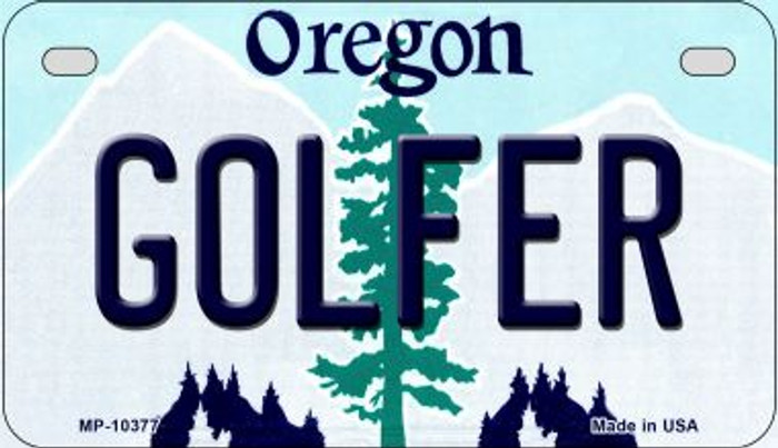 Golfer Oregon Novelty Metal Motorcycle Plate MP-10377