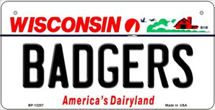 Badgers Wisconsin Novelty Metal Bicycle Plate BP-12207