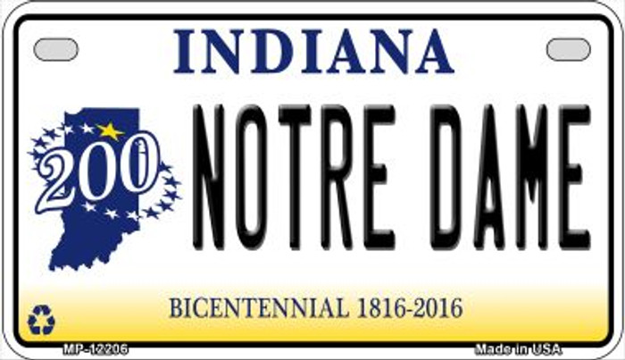 Notre Dame Indiana Novelty Metal Motorcycle Plate MP-12206