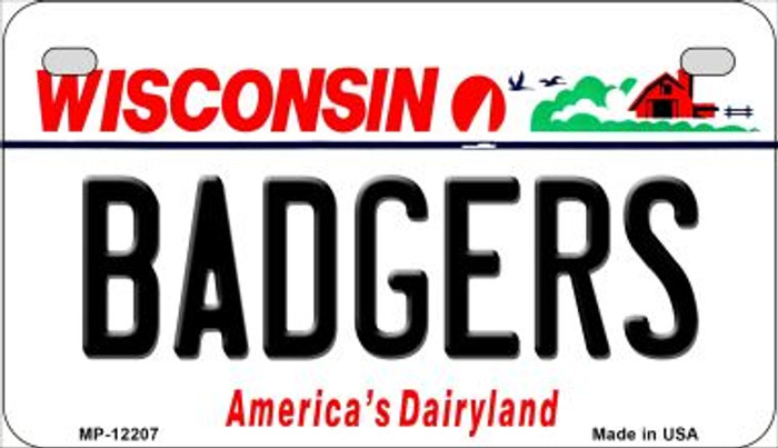 Badgers Wisconsin Novelty Metal Motorcycle Plate MP-12207