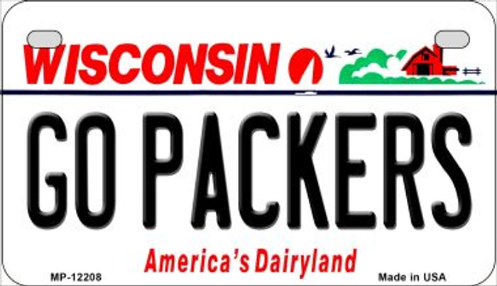 Go Packers Wisconsin Novelty Metal Motorcycle Plate MP-12208
