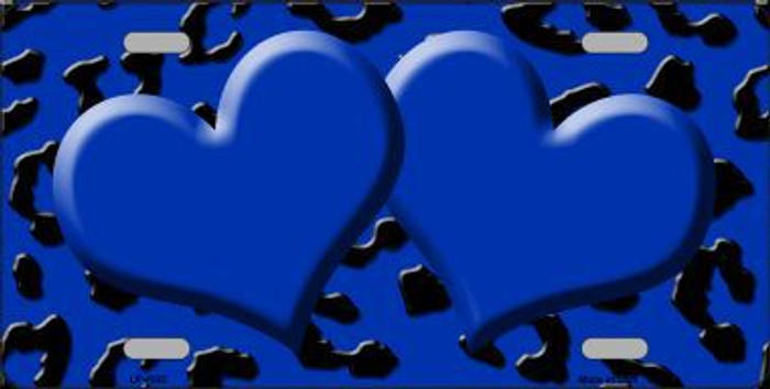 Blue Black Cheetah With Blue Center Hearts Metal Novelty License Plate LP-4532