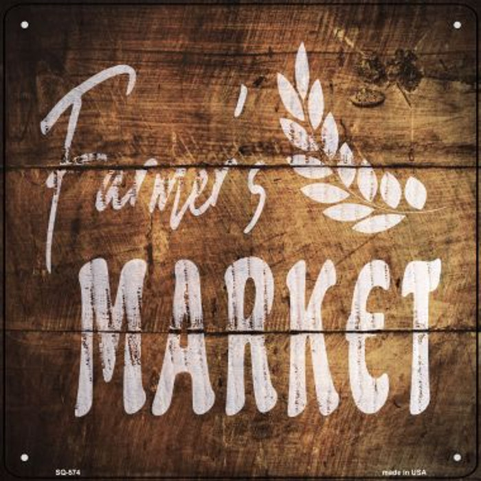 Farmers Market Novelty Metal Square Sign SQ-574